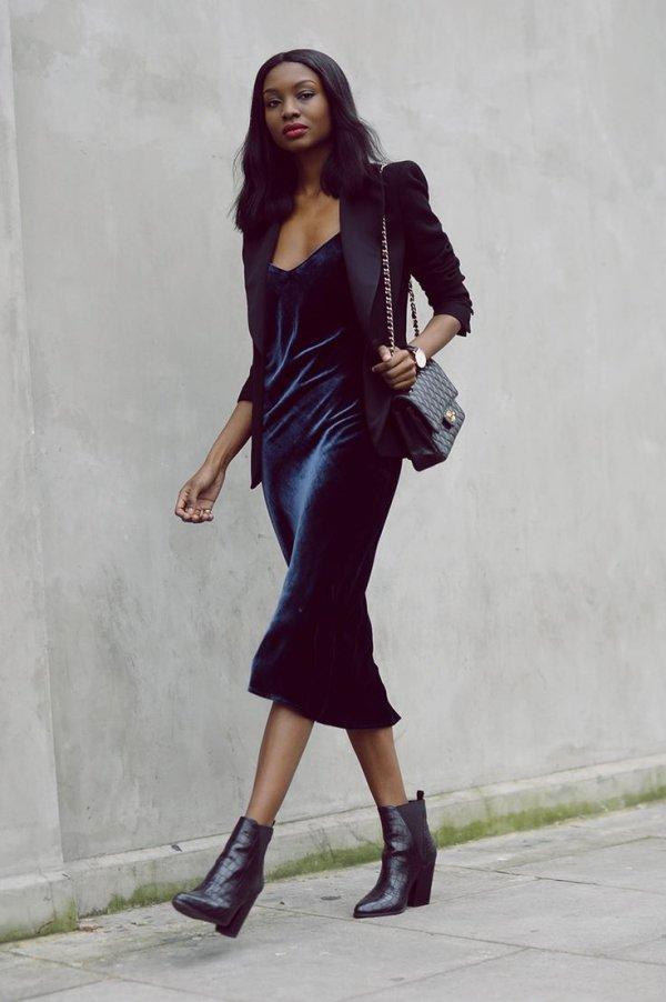 Dress + Blazer + Ankle Boots