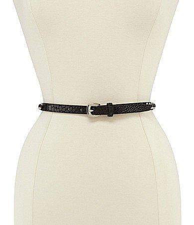 Michael Kors Chain Laced Snake Panel Belt - Black