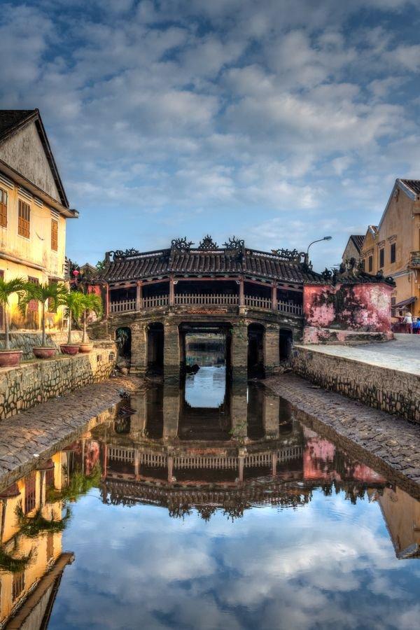 Japanese Covered Bridge,reflection,landmark,town,river,