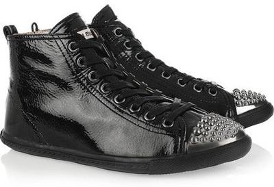 Miu Miu Patent Leather Hi Top Sneakers