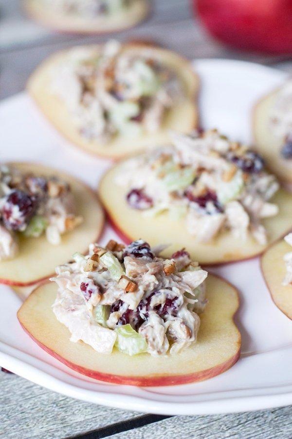 Cranberry Chicken Salad on Crunchy Apple Slices