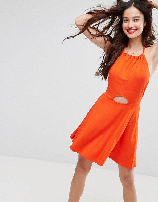 clothing, dress, orange, sleeve, cocktail dress,