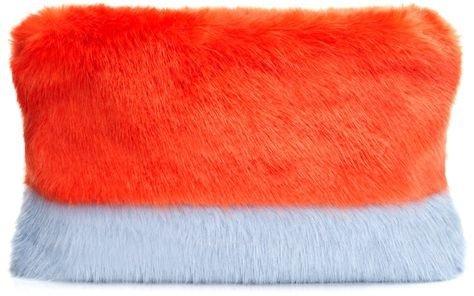 Two-Tone Faux Fur Clutch