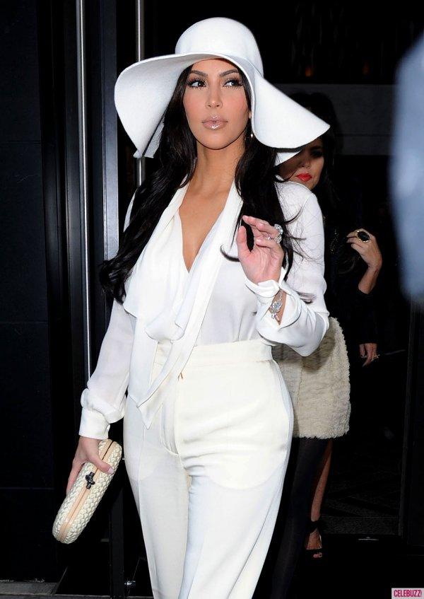 Kim Kardashian in All White 70's Inspired Look