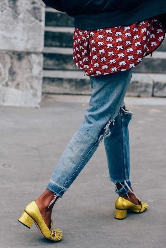 Jeans, Blue, Footwear, Street fashion, Yellow,