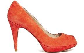 Karen Millen Suede Coral Peep Toe Heels