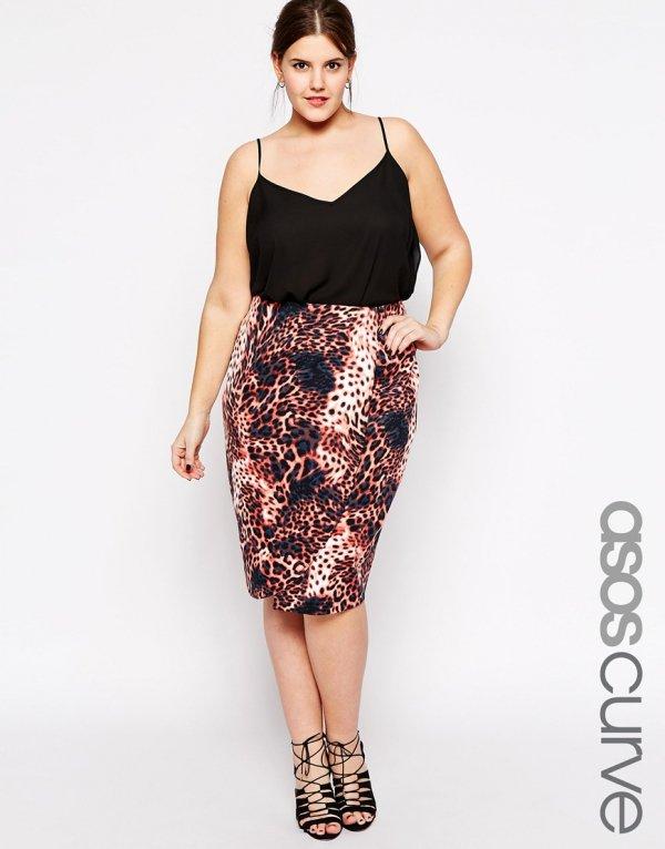 ASOS CURVE Exclusive Scuba Wrap Pencil Skirt in Animal