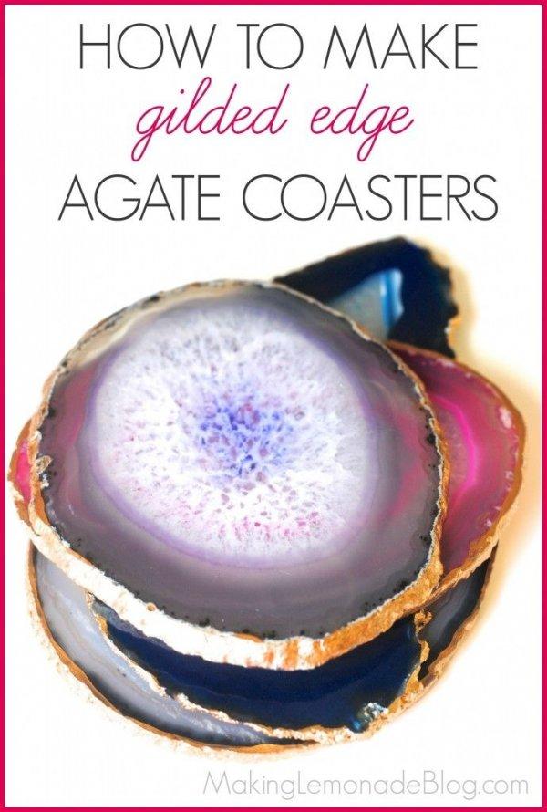Gilded Edge Agate Coasters