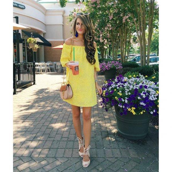 clothing, yellow, dress, sleeve, spring,