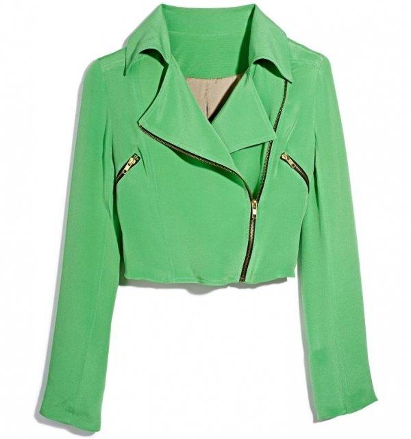 Cropped Green Moto Jacket (TJ Maxx)