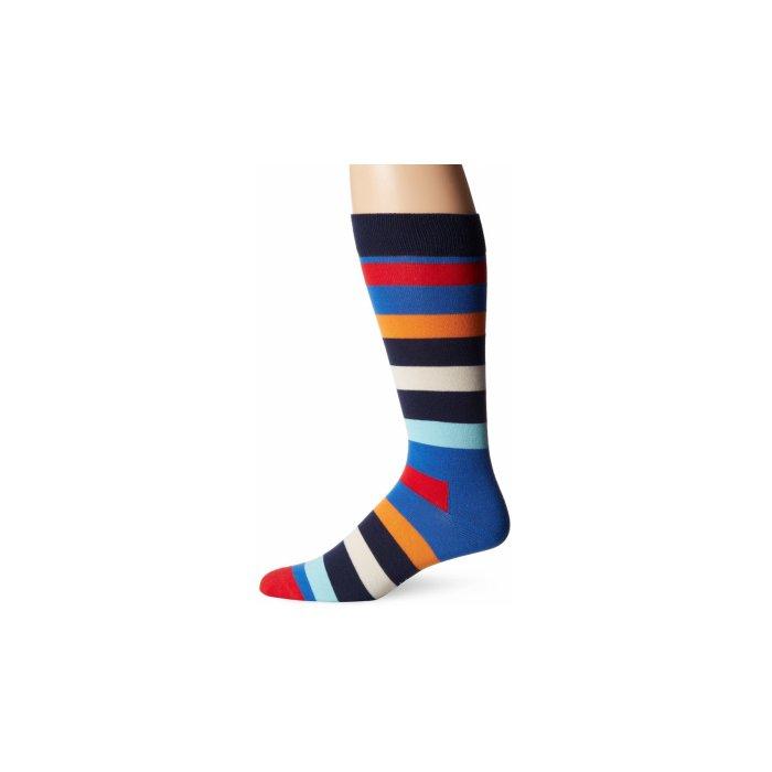 Happy Socks Men's Combed Cotton Stripe Crew Sock