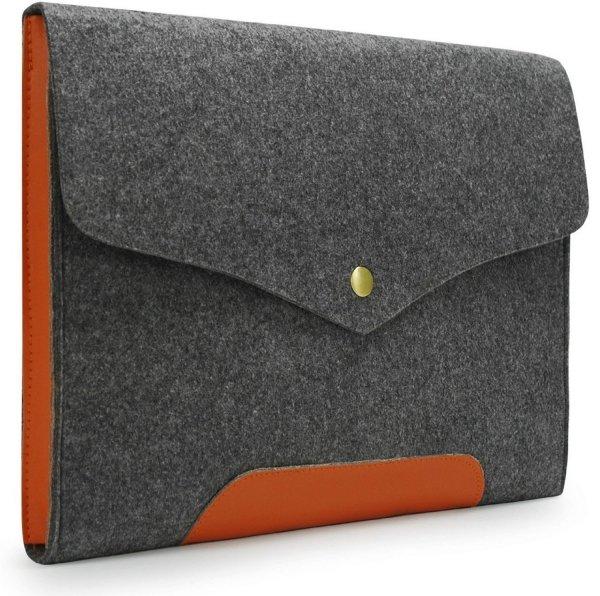 Lavievert Gray Felt Case Leather Bottom Bag