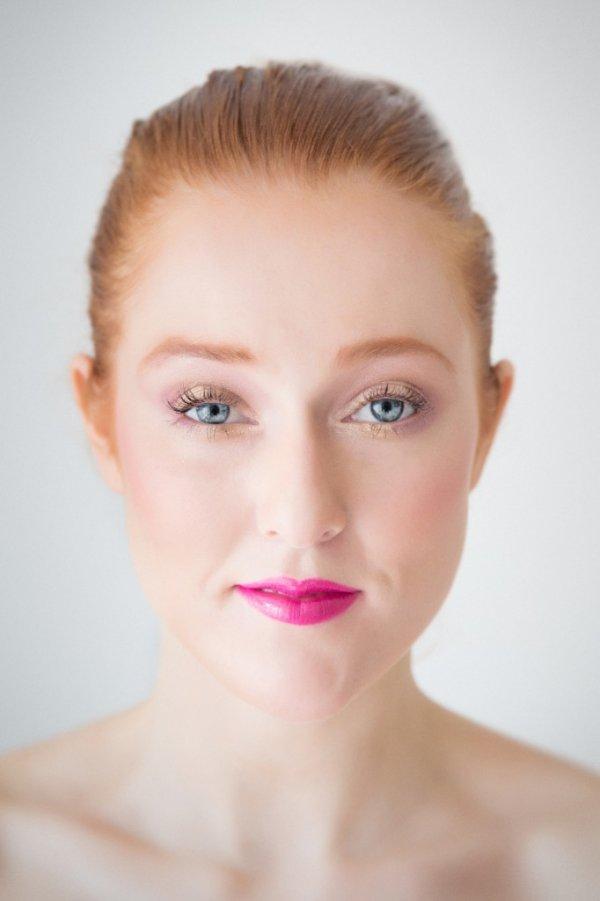 Pink Lips and Gold Eye Makeup