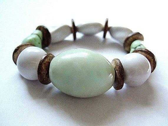 Ceramic, Coconut and Faux Turquoise Bracelet