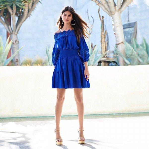 blue, fashion model, dress, shoulder, cocktail dress,