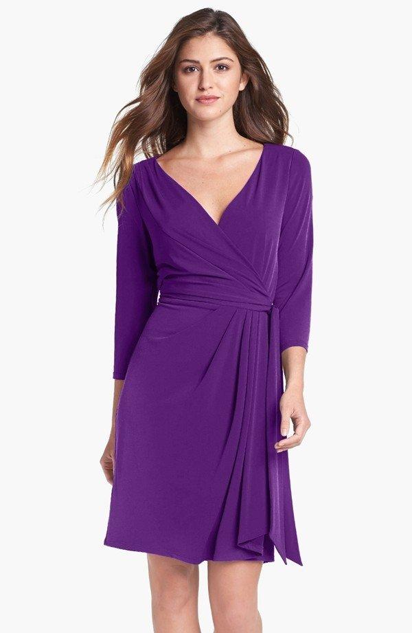 Jersey Faux Wrap Dress - by Ivy & Blu