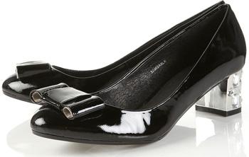 Topshop Jupiter Black Patent Gem Bow Heel Pumps