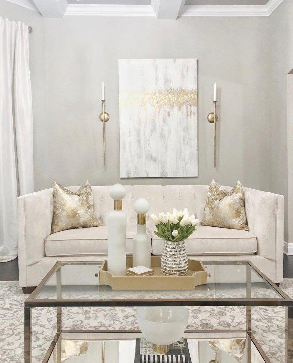 White, Living room, Furniture, Room, Interior design,