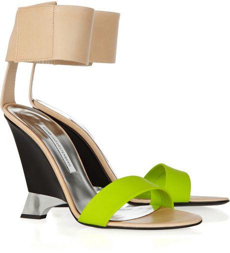 Diane Von Furstenberg Elan Leather and Rubber Wedges