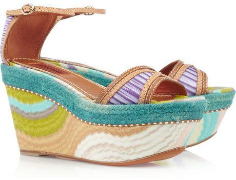 Missoni Leather and Crochet-Knit Platform Sandals