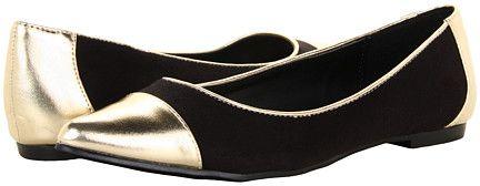 Black and Gold Cap Toe Flats