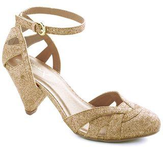 Gold Cut out Shoes