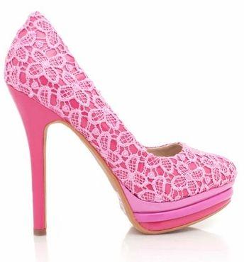 Pink Lace Floral Platforms