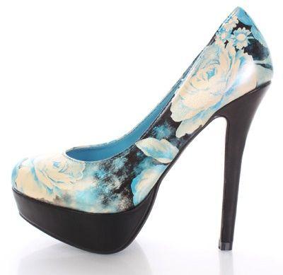 Blue Floral Faux Leather Closed Toe Platform Pump Heels