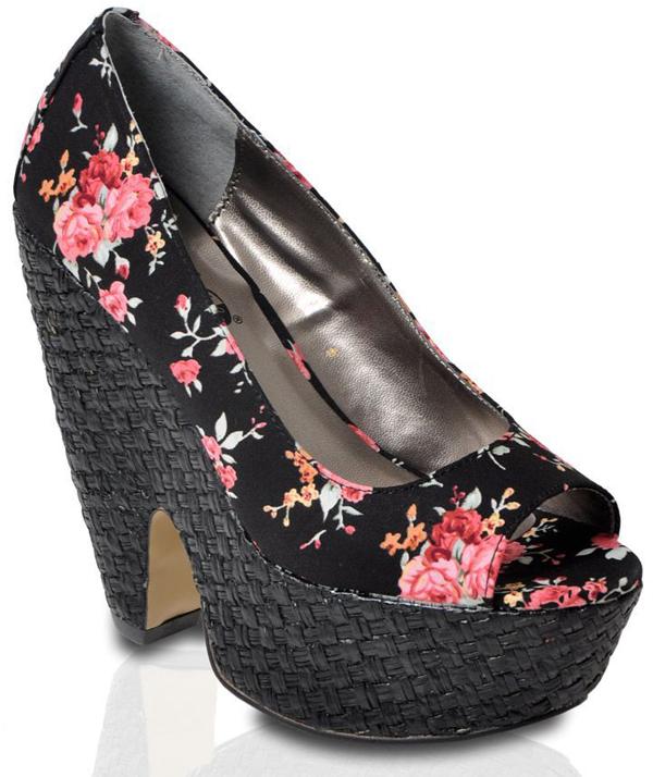 Women's Black Harmony Floral Heel
