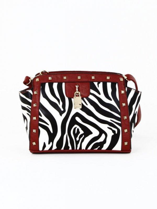 Zebra Print Cross-body Bag in Red