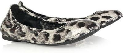 Tory Burch Eddie Animal-Print Patent-Leather Ballerina Flats