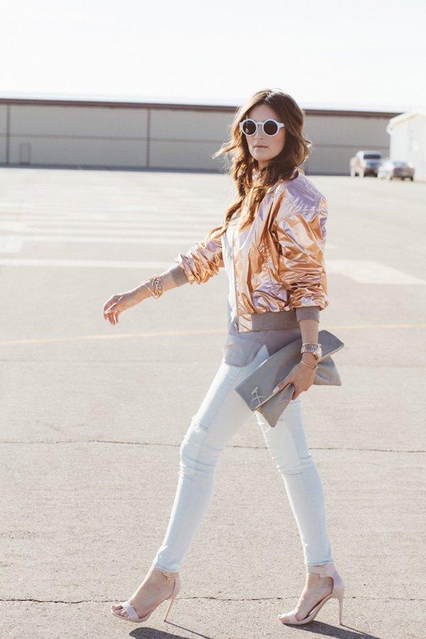 Metallic Jacket and White Denims