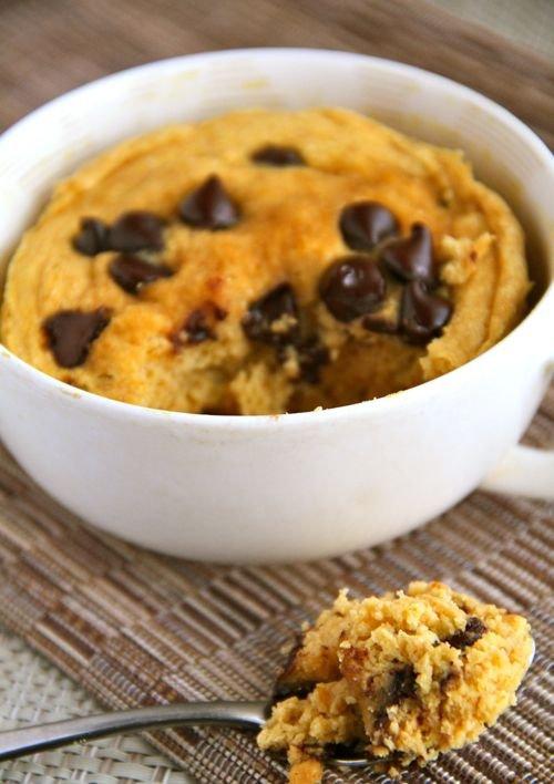 Chocolate Chip Pumpkin Mug Cake