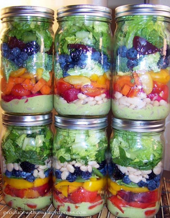 Harvest Rainbow Mason Jar Salad with Creamy Pesto Dressing