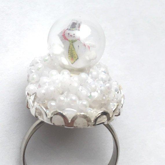 Snow Globe Snowman Ring