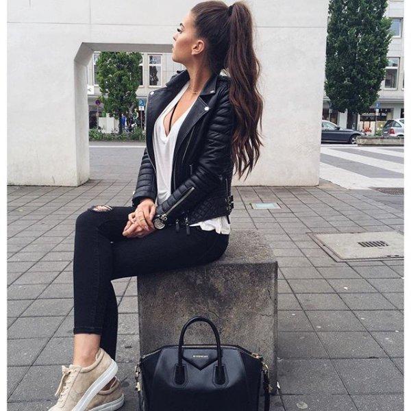 clothing, black, jacket, leather, sleeve,