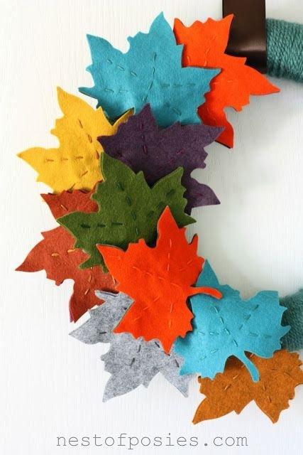 Fall Felt Leaf Wreath
