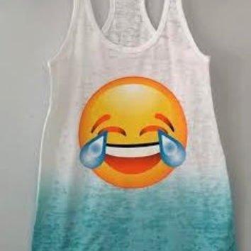 Burnout Ombré Racerback Tank - Laughing to Tears Emoji