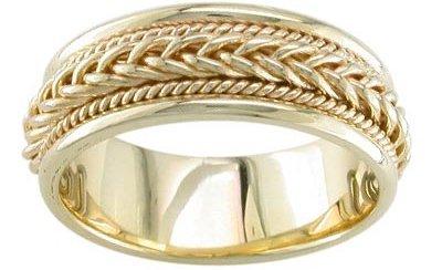 14K White Gold 7.6mm Braided Wedding Band Ring
