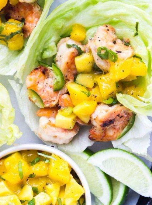 Spicy Coconut Milk Shrimp Lettuce Wraps Topped with Fresh Mango Salsa