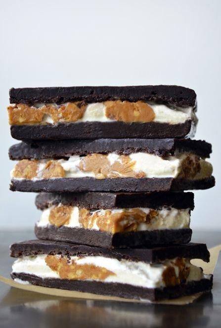 Peanut Butter Brownie Ice Cream Sandwich