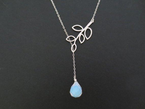 Moonstone Leaf Lariat Necklace