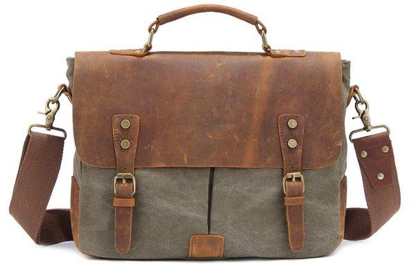 Kattee Vintage Canvas Real Leather Messenger Bag