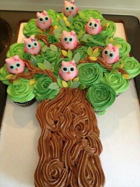 Pull Apart Owl Cupcake Cake