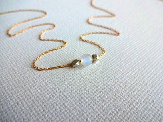 Delicate Handmade Rainbow Moonstone Layered Necklace