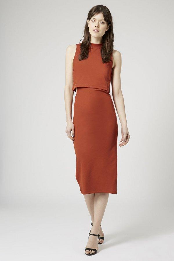 Topshop Cutout Midi Bodycon Dress