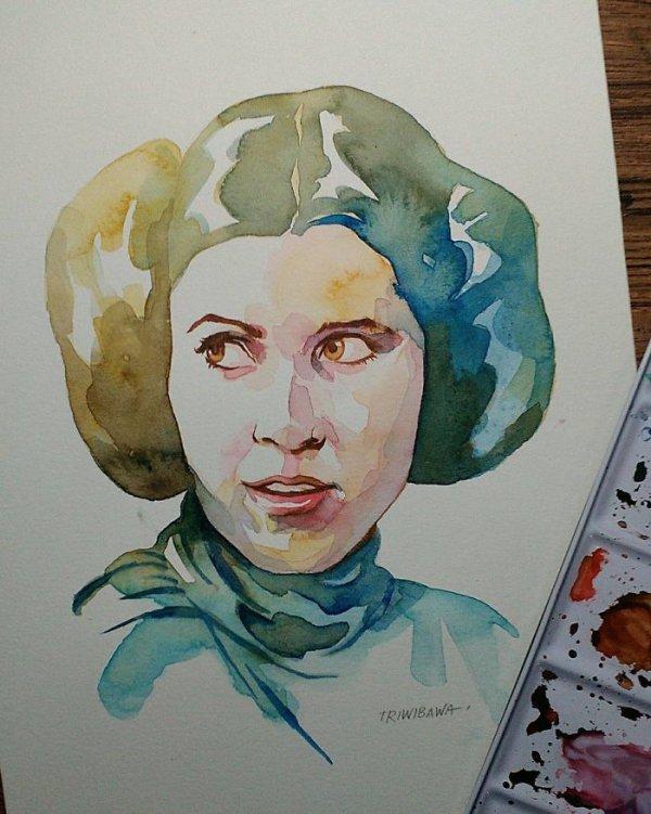 painting, head, watercolor paint, portrait, art,