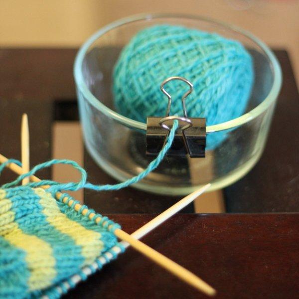 Binder Clip and Bowl – Great Yarn Dispenser!