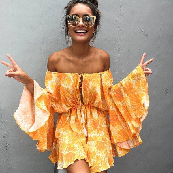 clothing, yellow, orange, season, dress,