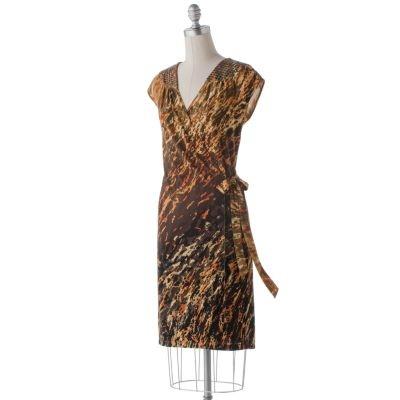 Dana Buchman Splatter Wrap Dress